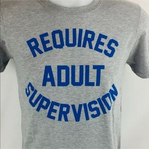 Requires Adult Supervision Mens Tee Gray S C10-1